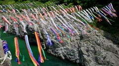 Koinobori flying carps, Wakayama Prefecture, Japan Stock Footage