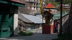 People spinning prayer wheel,Kalpa,Kinnaur,India Stock Footage