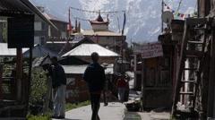 Kalpa town with mountains and people,Kalpa,Kinnaur,India - stock footage