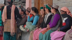 Women waiting for start for field cleaning day,Kalpa,Kinnaur,India Stock Footage
