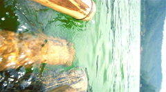 Bamboo with current dam - stock footage
