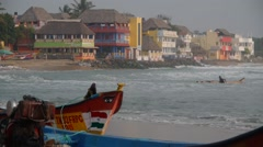 Waves and fisherboats,Mahabalipuram,India Stock Footage