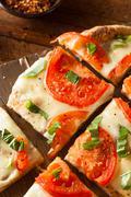 Homemade Margarita Flatbread Pizza - stock photo