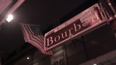 Bourbon Street sign, French Quarter, New Orleans, Mardi Gras Stock Footage