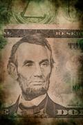 Macro of Abraham Lincoln on five USA dollar banknote - stock photo