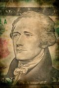 Macro of Alexander Hamilton on ten USA dollar banknote Stock Photos