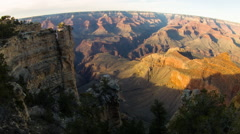 Grand Canyon, South Rim at sunset, wide angle view Stock Footage