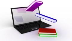 Book fly in laptop black.mp4 Stock Footage