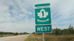 Trans Canada Highway 1 sign in Manitoba, Canada. Handheld. Stock Footage