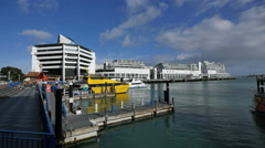 New Zealand Auckland waterside blue railing and yellow boat 4k 11 Stock Footage