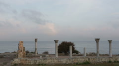 Colonnade in ruins of Ancient Greek city of Chersonese early in morning Stock Footage