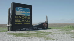 Padre Island National Seashore sign, Corpus Christi Texas Stock Footage