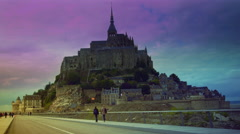 Mont Saint-Michel with the new bridge in sunset, time lapse,4k Stock Footage