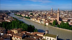 Verona in Italy, skyline of the old town Stock Footage