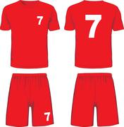 Set of soccer uniform front and back view. Vector Stock Illustration