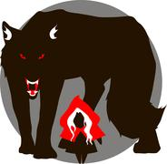 Red Hood and the big bad wolf - stock illustration