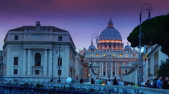 Sunset time lapse St. Peter's Basilica from Via della Conciliazione in Rome. Stock Footage