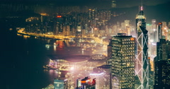Hong Kong Victoria Harbour view from the peak Stock Footage