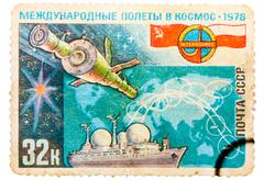 Postage Stamp Shows the International Flights in the Space - stock photo