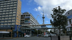 New Zealand Auckland Sky Tower with metal pyramid and tree 4k 4 Stock Footage