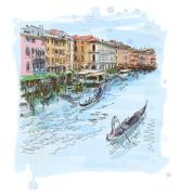 Venice - Grand Canal. The view from the Rialto Bridge - stock illustration