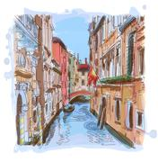 Venice - water canal, old buildings & gondola away - stock illustration