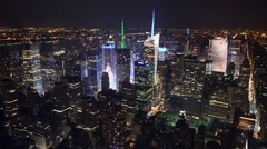Midtown Manhattan aerial skyline at night Stock Footage