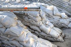 White sandbags - stock photo