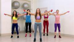 Fitness. Aerobics with dumbbells - stock footage