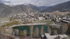 View of Lake and Nako tibetan village,Nako,Kinnaur,India Stock Footage