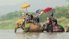 The Buddhist Ordination Ceremony and Elephant Procession Stock Footage