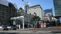 New Zealand Auckland street traffic near tall hotel building 4k 16 Stock Footage