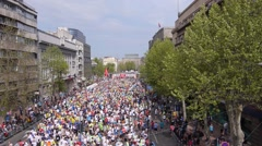 Aerial view of marathon city runners in the streets of Belgrade - stock footage