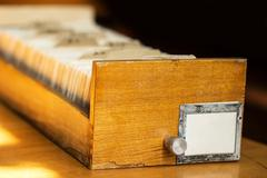 Old archive with wooden drawer Stock Photos