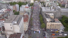 Aerial view of marathon city runners in the streets of Belgrade Stock Footage