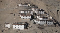 View of Dankhar village Valley,Dankhar,Spiti,India Stock Footage