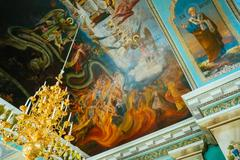 Interior Of Belarussian Orthodox Church Cathedral of St. Peter a - stock photo