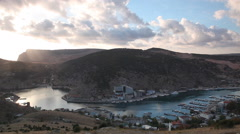 View of a bay in Balaklava on a sunset in the fall, the Crimea Stock Footage