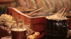 Traditional Polish food - Smalec (fat with onions) at Christmas fair in Krakow Stock Footage