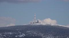 4k Brocken peak zoom out winter sport Torfhaus Harz area Stock Footage