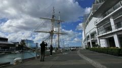 New Zealand Auckland tall ship near maritime museum 4k 13 Stock Footage