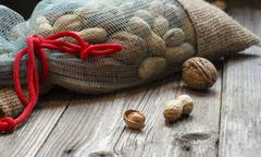 Full bag of nuts - stock photo