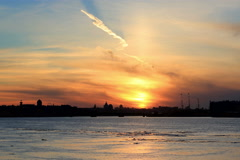 4K. Sunset on the Neva River in St. Petersburg, Russia. Ultra HD, 4096x2730 Stock Footage