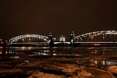 4K. Night view of the Bolsheokhtinsky bridge in St. Petersburg, Russia. Ultra HD Stock Footage