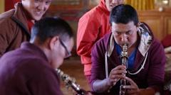 Musicians practise in Temple,Kazaa,Spiti,India Stock Footage