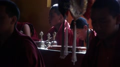 Young monks praying in temple,Kazaa,Spiti,India Stock Footage