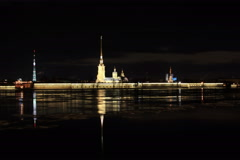 4K. Night view of the Peter and Paul Fortress, St. Petersburg, Russia. Ultra HD, Stock Footage