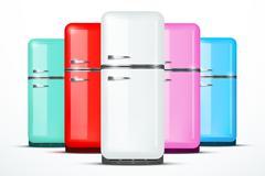 Set of Fridge refrigerator. Vector isolated on white background - stock illustration