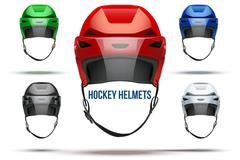 Set of Classic  Ice Hockey Helmets with glass visor. Vector Stock Illustration