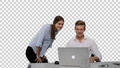 K14A8789 - Guy sitting / Girl / Laptop / finds a solution / happy! Stock Footage